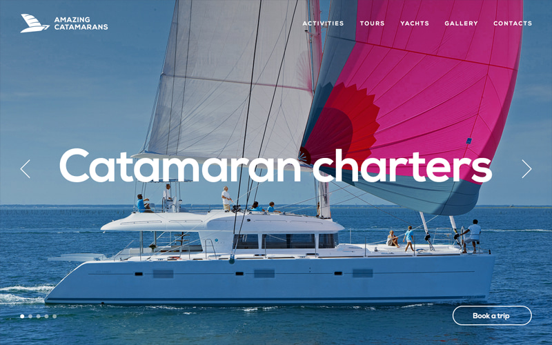 "Website of the Canadian tourist company ""Amazing Catamarans"""
